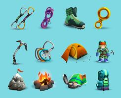 Alpine mountains climbing 3d icons set