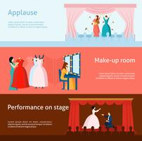 Theater performance flat banners set vector
