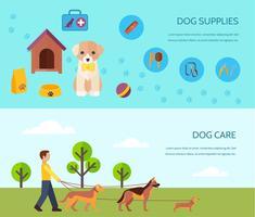 Composición de banners horizontales planas perro 2