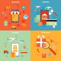 M-commerce et shopping Icons Set