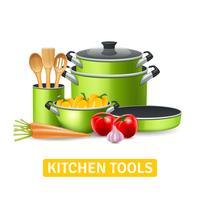 Herramientas de cocina con verduras ilustración
