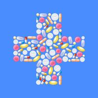 Pills In Cross Shape vector