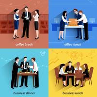 Almoço negócio, 4, apartamento, ícones, quadrado