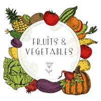 Healthy food fruits vegetables frame