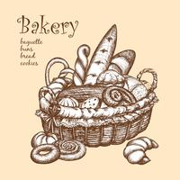 Basket With Bakery vector
