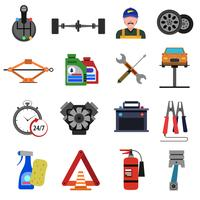 Car Service Icons Flat Set