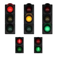 Conjunto de pictogramas realista de luzes de tráfego