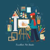 concetto di studio dell'artista