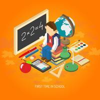 School isometrische concept poster