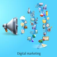Digital marketing concept flat banner