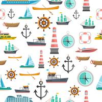 Nautical symbols vintage seamless pattern