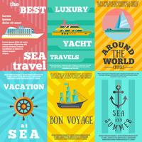 Cruise travel 6 flat icons composition vector
