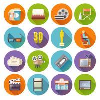 Cinema retro platta runt ikoner uppsättning
