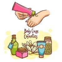 Body care cosmetics products ad poster