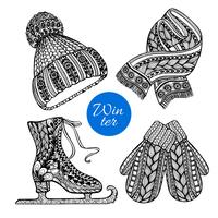Decorative skates mittens scarf doodle icons