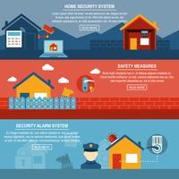 Conjunto de banners planos interativos de segurança em casa