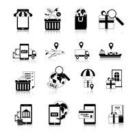 m-commerce svartvit ikoner uppsättning