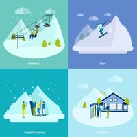 Winter Active Rest In Mountains Design Concept Set vector