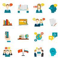 Set di icone di dizionario e traduzione