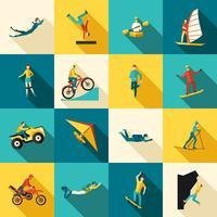 Extremsport platt ikoner uppsättning