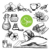 Set di trattamenti termali disegnati a mano