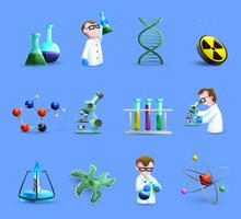 Science Laboratory Equipment  Icons Set With