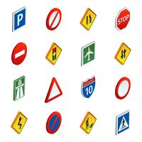 Road traffic signs isometric icons set  vector