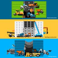 Construction Machines Banners Set vector