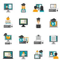 e-learning icons set plat