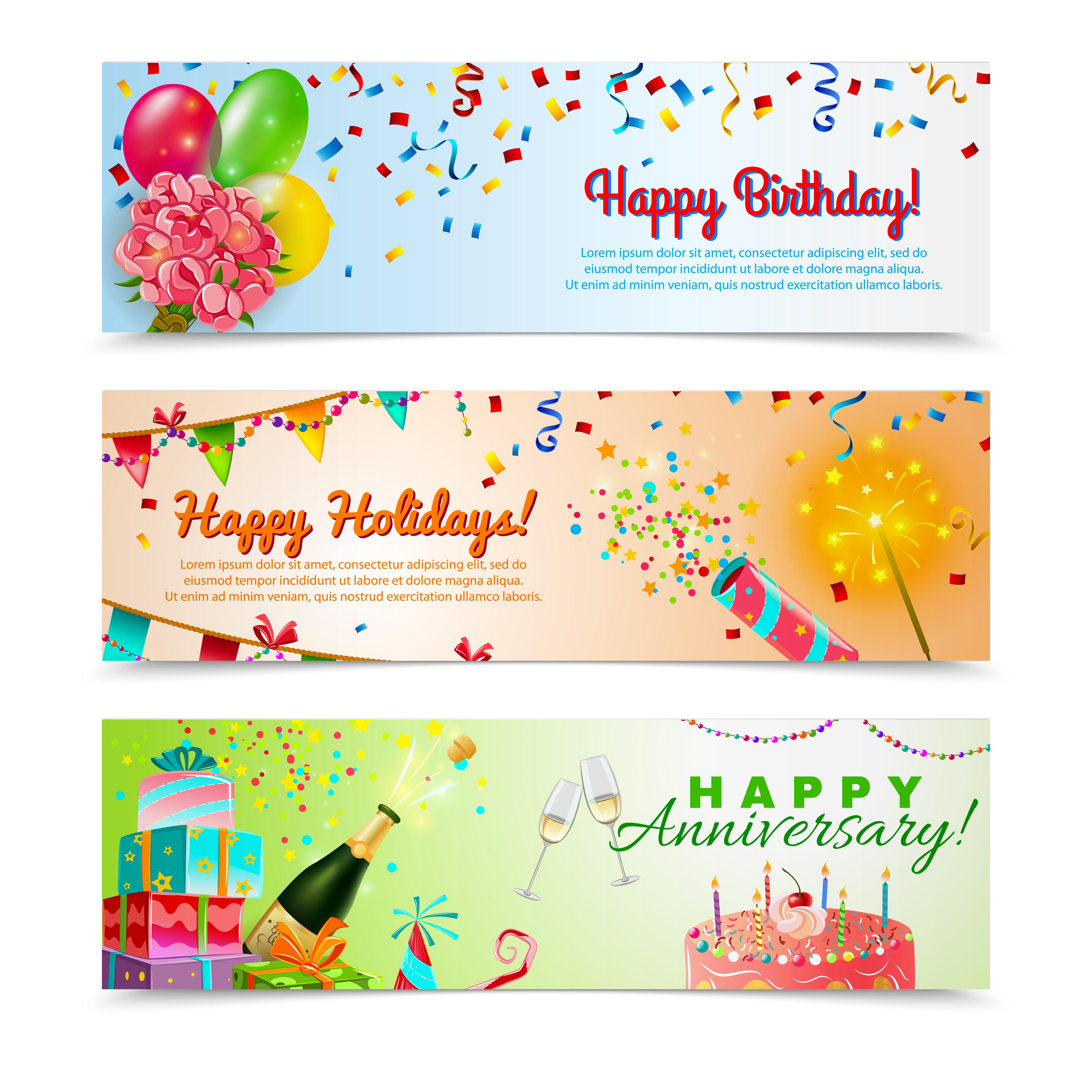 Happy Birthday Anniversary Celebration Banners Set Download Free