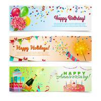 Happy birthday anniversary celebration banners set