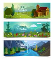 Summer landscape horizontal banners set