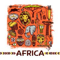 Afrika skiss illustration