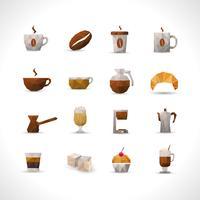 Polygonale Kaffee-Ikonen eingestellt