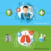 Medicin och hälsa Banners Set