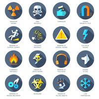 Iconos de peligro plana