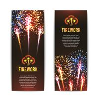 Conjunto de bandeiras verticais de fogo de artifício festivo 2