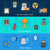 Conjunto de bandeiras plana de energia nuclear