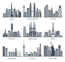 City skyline black icons set