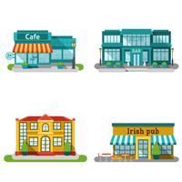 Cafe Buildings Flat Set