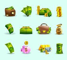 Conjunto de iconos planos de pago en efectivo