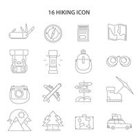 Hiking Line Icons Set