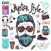 Concept d'esquisse de dessin animé hipster
