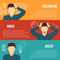 Stress concept horizontal banners set vector