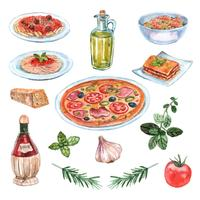 Conjunto de aquarela comida italiana