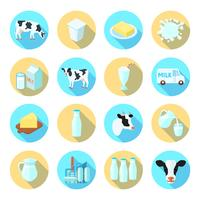 Milch flache Icons Set