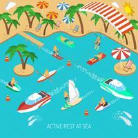 Descanso ativo no conceito do mar