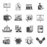 Conjunto de iconos de finanzas negro