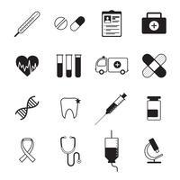 Icônes de médecine mis en noir