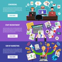Freelance recruitment concept flat banners set